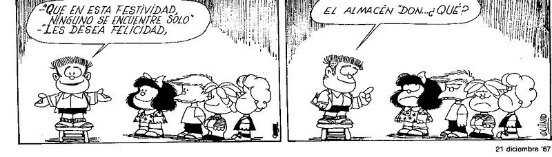 """Manolito: """"Que en esta festividad, ninguno se encuentre solo, les desea felicidad... Manolito: ... el almacén Don ¿qué?"""